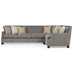 Bexley Modern Classic Mocha Wood Grey 3 Part Sectional - 118x93