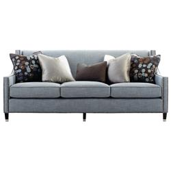 Emmeline Hollywood Regency Antique Nickel Blue Sofa - 82.5 Inch