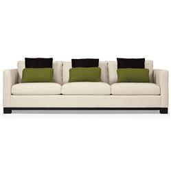 Miles Modern Classic Mocha Wood Ivory Leather Sofa - 91 Inch
