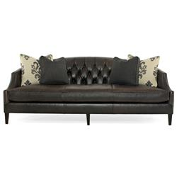 Juliet Hollywood Regency Mocha Wood Black Leather Tufted Sofa