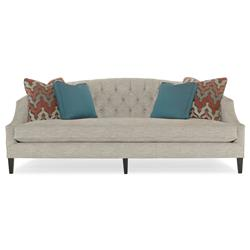 Juliet Hollywood Regency Mocha Wood Beige Tufted Sofa