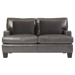 Sienna Modern Classic Mocha Wood Grey Leather Loveseat