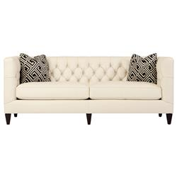 Jane Hollywood Regency Mocha Wood Cream Leather Tufted Sofa