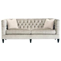 Jane Hollywood Regency Mocha Wood Silver Velvet Tufted Sofa