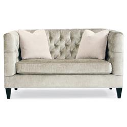 Jane Hollywood Regency Mocha Wood Silver Velvet Tufted Loveseat
