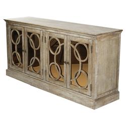 Edith Contemporary Limed Oak with Sepia Mirrored Glass Buffet