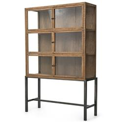 Hazel Creek Industrial Loft Natural Oak Iron Base Display Cabinet