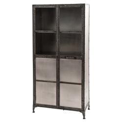 Webber Industrial Loft Iron Nickel Storage Display Cabinet