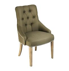 Anneau Olive Linen Tufted Nail head Vanity Dining Chair | CF164 E272 C003-1