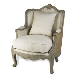 Adele French Country Rustic Off White Cotton Arm Accent Wing Chair - Jute Back