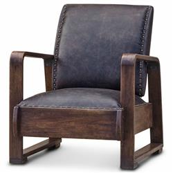 Nathaniel Industrial Loft Walnut Espresso Brown Leather Armchair