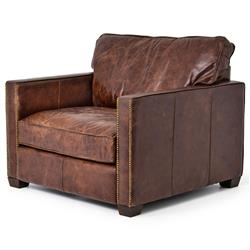 Hemingway Rustic Lodge Cigar Brown Leather Brass Nailhead Armchair