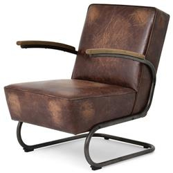 Peterman Industrial Loft Black Iron Brown Leather Armchair