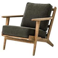 Rider Mid Century Modern Oak Sage Brown Armchair