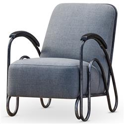 Brett Modern Industrial Loft Grey Fabric Black Iron Armchair
