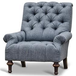 Donata Modern Classic Tufted Charcoal Grey Linen Armchair
