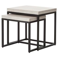 Zue Industrial Loft Concrete Top Outdoor Nesting Side End Tables - Set of 2