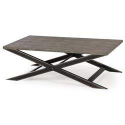 Billie Modern Classic Faux Shagreen Cross Leg Metal Coffee Table