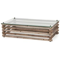Laura Rustic Lodge Glass Top Log Coffee Table