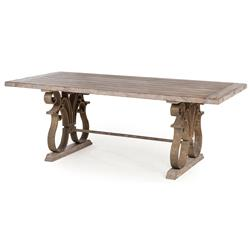 Talulah French Country Rustic Iron Scroll Aged Wood Dining Table