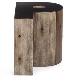 Bea Industrial Loft Alphabet Letter P Wood Side Table