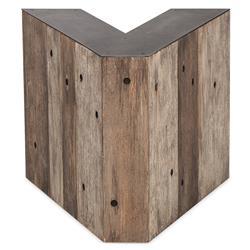 Bea Industrial Loft Alphabet Letter V Wood Side Table
