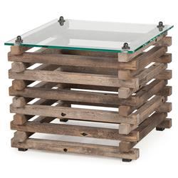 Laura Rustic Lodge Glass Top Log Side Table