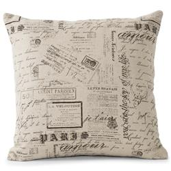 French Country Literary Script Natural Linen Square Pillow | ZEN-Pattern-41
