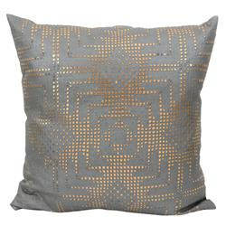 Jett Aztec Rose Gold Grey Faux Leather Pillow - 20x20