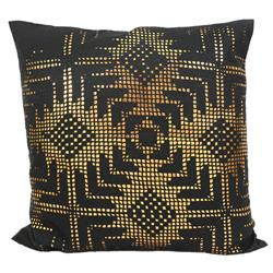 Jett Aztec Gold Black Faux Leather Pillow - 20x20