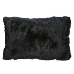 Roberta Black Peruvian Alpaca Fur Pillow - 12x20