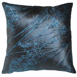 Analia Navy Pressed Flower Velvet Silk Pillow - 20x20