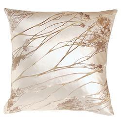 Analia Brown Ivory Pressed Flower Velvet Silk Pillow - 20x20