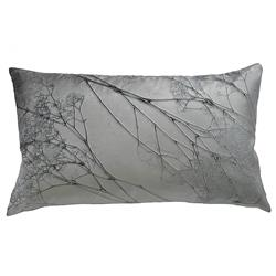 Analia Silver Pressed Flower Velvet Silk Pillow - 12x20