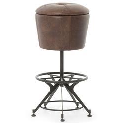 Pullman Industrial Loft Brown Leather Black Iron Barstool