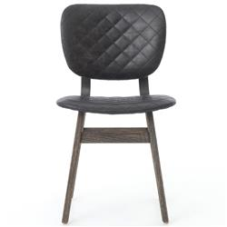 Drifter Industrial Loft Black Leather Quilt Charcoal Dining Chair - Pair