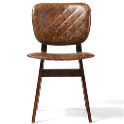 Drifter Industrial Loft Brown Leather Quilt Oak Dining Chair