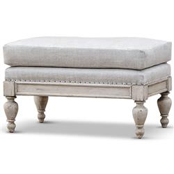 Quint French Country Light Grey Linen Sun Bleached Walnut Ottoman