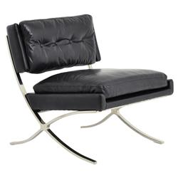 Harvey Mid Century Modern Black Leather Upholstered X-Leg Lounge Chair