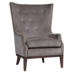 Yasmine Modern Classic Tufted Wing-Back Grey Upholstered Armchair