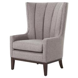 Vida Modern Classic Gray Vertical Channel Wing Back Accent Armchair