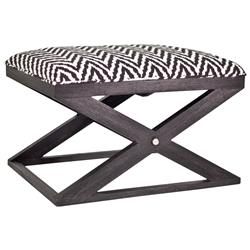 Glen Modern Classic Black Onyx White Zigzag Ottoman Bench