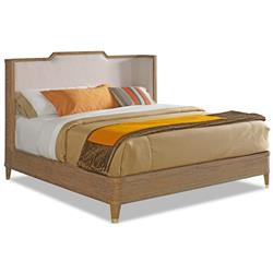 Cullen Modern Classic Brown Teak Cream Linen Bed - Queen