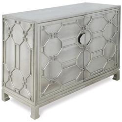Jodie Hollywood Regency German Silver 2 Door Cabinet