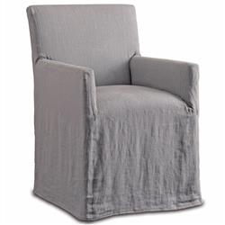 Terry Modern Classic Pewter Linen Slipcover Dining Arm Chair