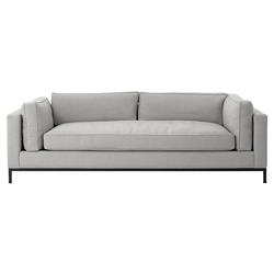Babette Modern Classic Ash Grey Upholstered Black Iron Base Sofa