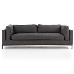 Babette Modern Classic Charcoal Upholstered Black Iron Base Sofa