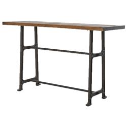 Wolcott Industrial Loft Iron Bleached Oak Dining Bar Table