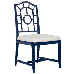 Fenn Hollywood Regency Linen Blue Chippendale Dining Side Chair