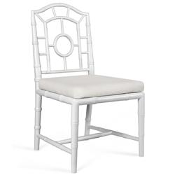 Fenn Hollywood Regency Linen White Chippendale Dining Side Chair